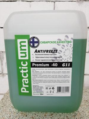 Антифириз PracticUM Green Premium -40 G11 зеленый (канистра 10кг)