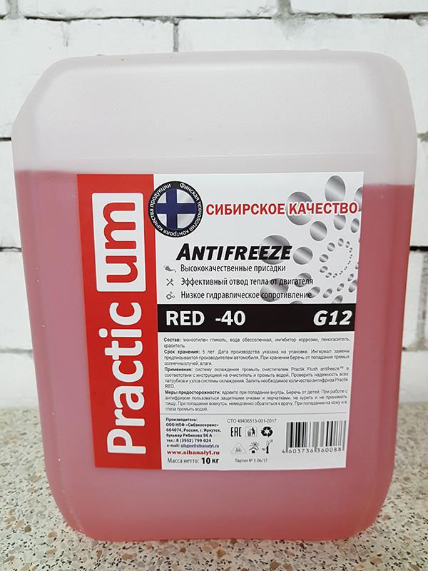 Антифриз PracticUM Red -40 G12 красный (канистра 10кг)