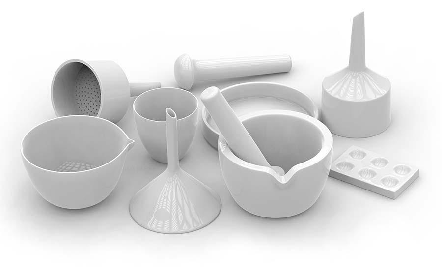 Фарфоровая посуда для лабораторий